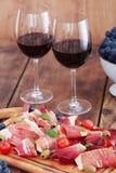 Prosciutto en wijn Royalty-vrije Stock Foto's