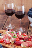Prosciutto et vin Photos libres de droits