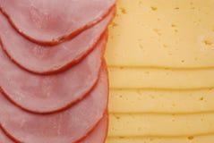 Prosciutto, formaggio e pane Fotografie Stock Libere da Diritti