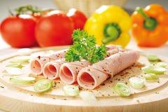 Prosciutto fresco con le verdure Fotografia Stock Libera da Diritti