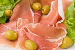 Prosciutto with fresh salad 3 Royalty Free Stock Photography