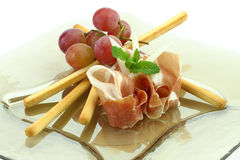 Prosciutto with grissini Royalty Free Stock Photo