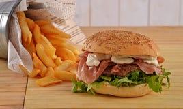 Prosciutto ham burger Royalty Free Stock Image