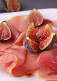 Prosciutto ham and figs Royalty Free Stock Photos