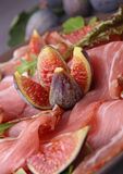 Prosciutto ham and figs Stock Photography