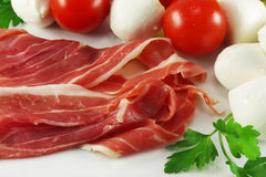 Prosciutto ham and mozzarella Royalty Free Stock Image