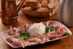 Prosciutto ham and mozzarella Royalty Free Stock Image