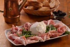 Prosciutto ham and mozzarella Royalty Free Stock Photos