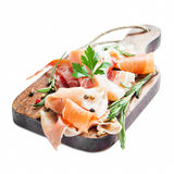 Prosciutto Ham with Rosemary and Pepper Spice Isolated Royalty Free Stock Photos