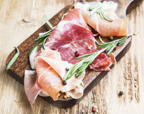 Prosciutto Ham with Rosemary and Pepper Spice Stock Photo