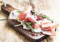 Prosciutto Ham with Rosemary and Pepper Spice Stock Photos