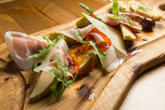 Prosciutto italiano, carne de carne de porco curada fotografia de stock