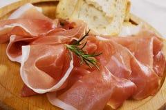 Prosciutto, jambon corrigé italien image stock