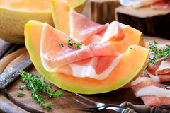 Prosciutto with melon Royalty Free Stock Photos
