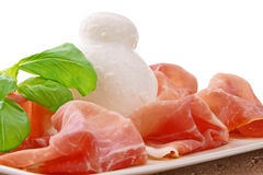 Prosciutto and  mozzarella Stock Image