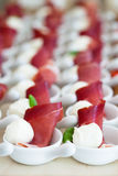 Prosciutto and mozzarella appetizers Royalty Free Stock Photos