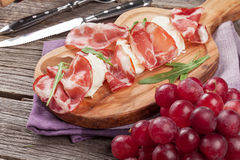 Prosciutto and mozzarella Stock Images