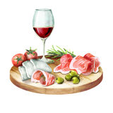 Prosciutto, mozzarella, olives and wine on the platter. Watercolor illustration Royalty Free Stock Photography