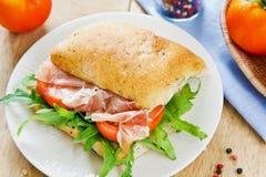 Prosciutto on Olive Ciabatta sandwich Royalty Free Stock Photo