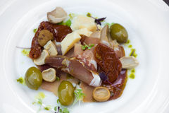Prosciutto with olive sheese and Cherry tomato Stock Photos