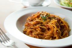 Prosciutto Parma Ham Rosemary spaghetti Stock Image