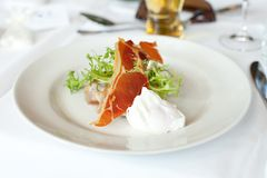 Prosciutto and Poached Egg Royalty Free Stock Images