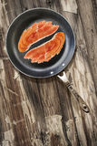 Prosciutto Rashers in Teflon Frying Pan on very Old Cracked Wood Royalty Free Stock Images