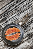 Prosciutto Rashers in Teflon Frying Pan on very Old Cracked Wood Royalty Free Stock Photos
