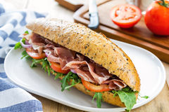 Prosciutto with rocket on sesame baguette Stock Image
