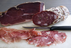 Prosciutto and Salami Royalty Free Stock Images