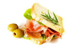 Prosciutto sandwich Royalty Free Stock Photos