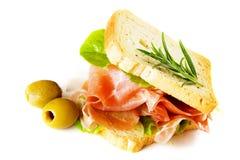 Prosciutto sandwich Royalty Free Stock Photos