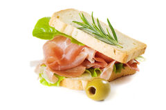 Prosciutto sandwich Royalty Free Stock Images