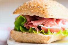 Prosciutto sandwich close up Stock Photos