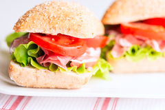 Prosciutto sandwich with tomato and arugula horizontal Stock Photography