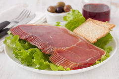 Prosciutto with toasts Royalty Free Stock Photos