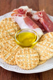 Prosciutto with toasts Stock Photos