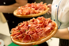 Prosciutto on trays Stock Photo