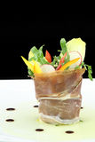 Prosciutto with vegetables salad Royalty Free Stock Image