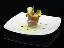 Prosciutto with vegetables salad Stock Image