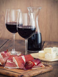 Prosciutto and wine Royalty Free Stock Photo