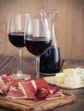 Prosciutto y vino Foto de archivo libre de regalías