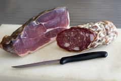 Proscuitto and salami Royalty Free Stock Photography