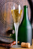 Prosecco. Still life with glass and bottle of italian prosecco stock image