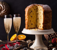 Prosecco and panettone. Italian panettone Christmas cake with sparkling wine, prosecco or champagne Stock Image