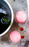 Prosecco with raspberry in glasses. Top view. style vintage. selective focus Stock Photography