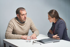 Prosecution Scene in Interrogation Room Stock Images