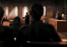 Prosecutors plea. Interior of a court room Stock Images
