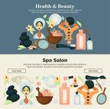 Prosedures de la salud y de la belleza en la bandera del promo del salón del balneario ilustración del vector