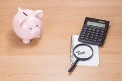 Prosiątka bank, kalkulator i powiększać, - szkło Obraz Stock